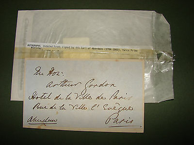 Genuine Signature of 4th Earl of Aberdeen 1784-1860 Prime Minister 1852-55