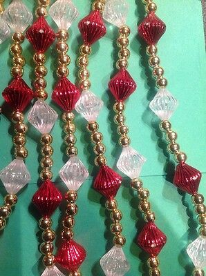 Christmas Tree Garland Beaded, Red & Gold/Clear, 9'