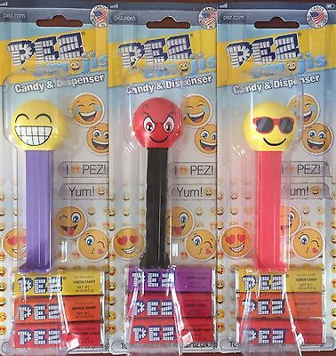 PEZ - 2017 Emojis - Cheesing, Devilish, & Chilling - Set of 3 Mint On Cards MOC