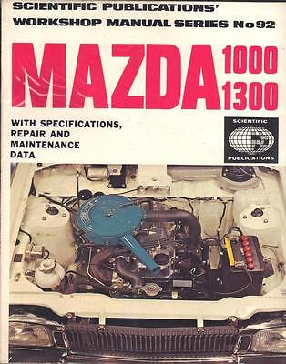 Mazda 1000 & 1300,saloon,coupe,familia,deluxe,owners Workshop Manual 1969-1974