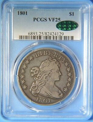 1801 Draped Bust Early Silver Dollar $1 PCGS Graded VF25 CAC