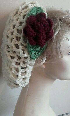1940's Hand Crochet Hair Snood WW2 wartime dance Vintage cream red rose