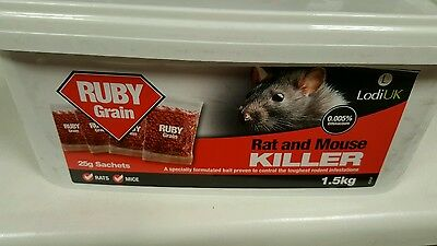 Rat Mouse Strong Killer 1.5KG Ruby Grain Bait poison mice Bromadiolione