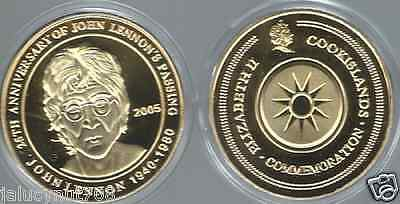 /john Lennon ~25Th Anniversary Of Death~ 1940-1980~24Kt Gold Commemorative Coin