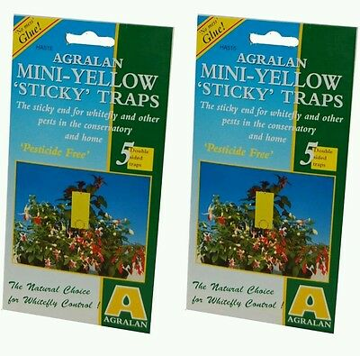 2 x Agralan Mini Yellow Sticky Traps To Catch Flying Insect Pests Pack Of 5