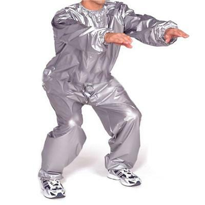 PVC Heavy Duty Sweat Suit Sauna Exercise Gym Suit Fitness Weight Loss Grey