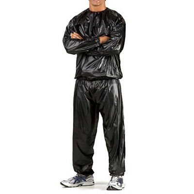 PVC Heavy Duty Sweat Suit Sauna Exercise Gym Suit Fitness Weight Loss Black