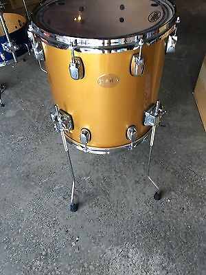 "taye parasonic 14 x 14 floor tom ""gold top"" with evans head"