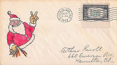 1943 Christmas Cover Hand Drawn & Painted Santa Claus Giving Peace Sign~109230