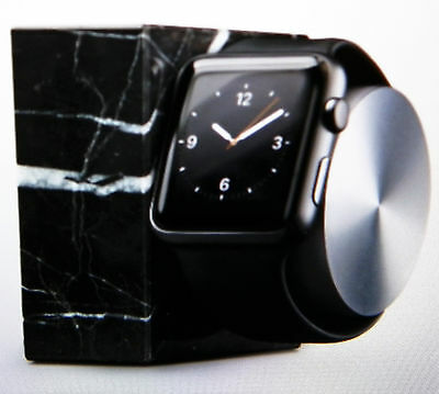 Apple Watch Stand Black Marble Edition Aluminum Rotating Arm Charging Dock Stand