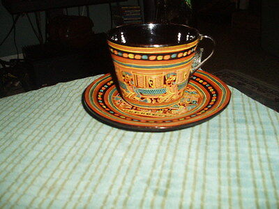 Vintage BLACK LAQUER WOOD/RESIN ? Cup & Saucer Hand Painted Asian Art RARE !