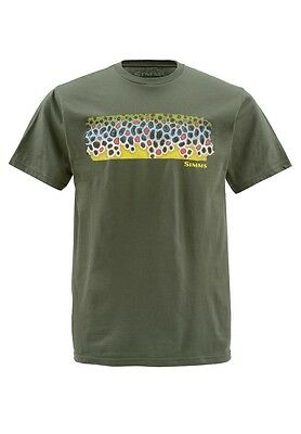 Simms DEYOUNG BROWN FLANK Short Sleeve Shirt ~ Olive NEW ~ Closeout Large