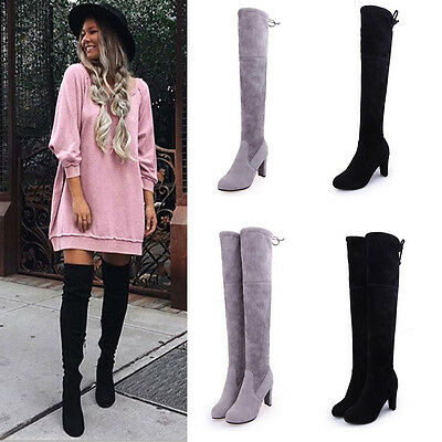 F0 Women Ladies Suede Over The Knee Boots Shoes Block High Heel Lace Thigh Boots