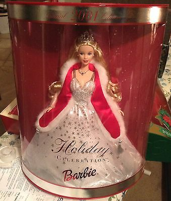 2001 Holiday Celebration Barbie Doll Special Edition NRFB 01 Christmas Silver
