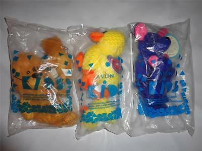 NEW Lot of (3) AVON collectible Plush FULL O' BEANS Purrdy- Cheesecake -Paddles