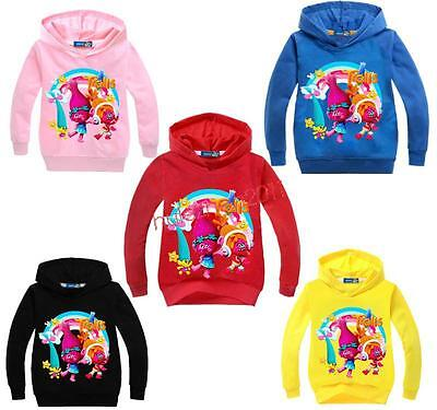 Newest Trolls Hoodies Kids Girls Jumper Pullover SweatShirt Tops Hoodie 2-7Y New