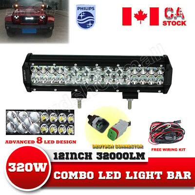 12 inch 224W PHILIPS Led Light Bar Work Driving Lamp SUV Off road 4WD Wiring Kit