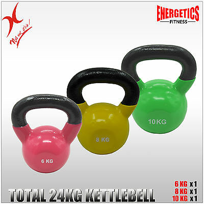 6Kg + 8Kg + 10Kg - Total 24Kg Iron Vinyl Kettlebell Weight Strength Training
