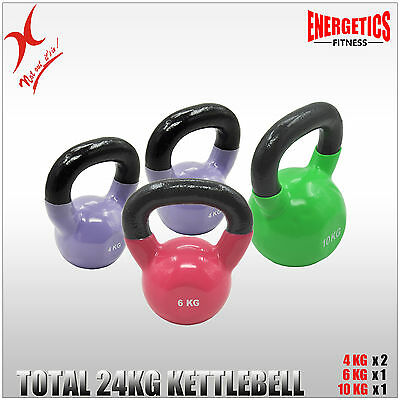 4KG x 2 + 6KG + 10KG - TOTAL 24KG IRON VINYL KETTLEBELL WEIGHT STRENGTH TRAINING