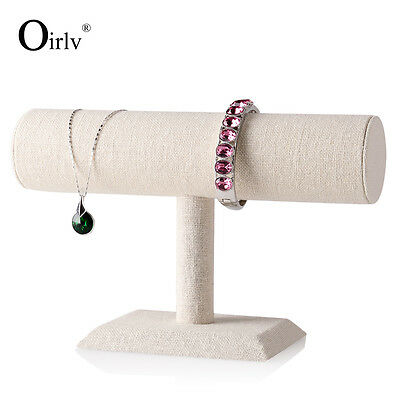 2 Pieces Linen Jewelry Display Holder Stand with T type for necklace Bracelet