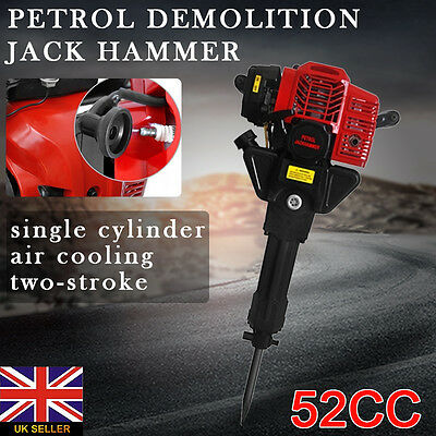 52CC 1900W Demolition Jack hammer Petrol JackHammer Concrete Rock Drill Tool Set