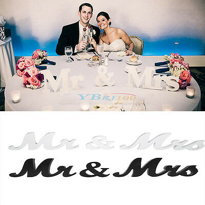 White/Black Mr and Mrs Letters Sign Wooden Standing Top Table Wedding Decoration