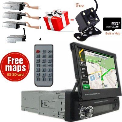 Single 1 Din Car Stereo In Dash GPS Navigation Touch Screen MP5 Radio Player