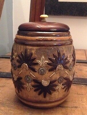 Antique Late Victorian Doulton Lambeth Tobacco Jar With Wooden Lid Bone Handle