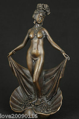 Collectable Old Bronze Handwork Carved Erogenous Sexy Belle Art Beauty Statue