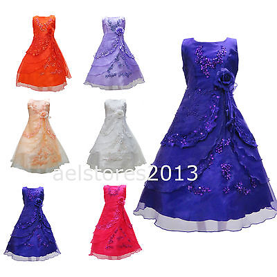 Girls Sequinned Flower Princess Sleeveless Dress Formal Party Wedding Bridesmaid