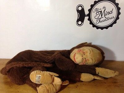 Merrythought Sleeping Monkey Pajama Bag England Vintage Old Plush Bear