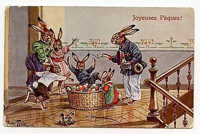 Illustrateur Arthur Thiele . Lapins . Paques . Rabbits . Easter .