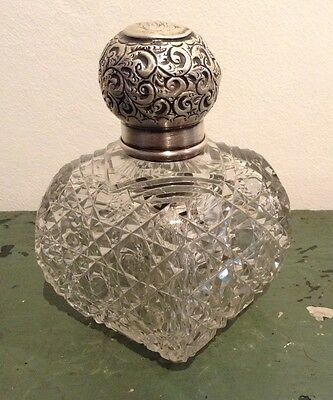 William Henry Sparrow 1925 Cut Glass Silver Collar & Lid Perfume Bottle AF