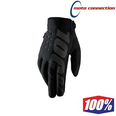 100% Brisker Neoprene Winter Mx Gloves Black Motocross Enduro Cold Weather Glove