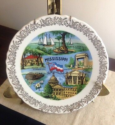Mississippi Souvenir State Porcelain Plate The Magnolia State Southern Heritage