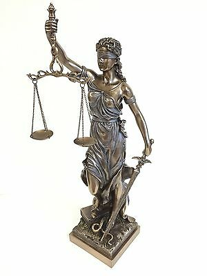 "Large Lady Justice Sculpture Lawyer Gift Statue Figurine - 18"" Tall"