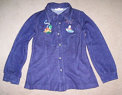 Vintage 1970s Women's Embroidered Button-Down, Western Style Shirt, Small