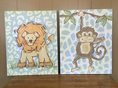 2 Baby Boy Canvas Wall Hangings Safari Lion & Monkey 16x20 Renditions by Reesa