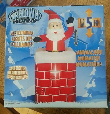 Airblown Inflatables Santa Rises From Chimney  Christmas 5Ft Tall #86119 Led