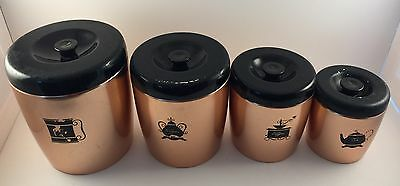 4 Vintage West Bend Copper Metal Canisters Flour Sugar Coffee Tea