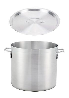 "Winco 17.3"" x 16"" Extra Heavy-Duty Thick Aluminum Stock Pot with Cover"