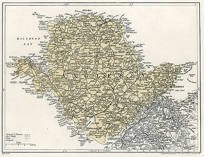 Wales map 1923: Anglesey mounted ready to frame SUPERB