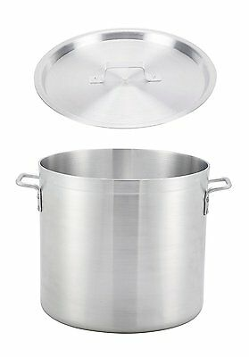 """Winco 9"""" x 7.3"""" Extra Heavy-Duty Thick Aluminum Stock Pot with Matching Cover"""