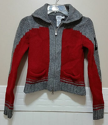 CALVIN KLEIN JEANS 100% Wool Sweater Red Grey Lambswool Youth Medium Boys Girls