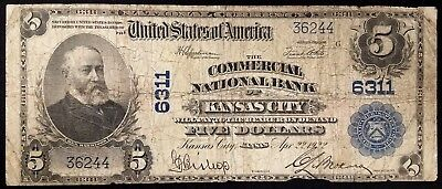 Series of 1902 Five Dollar Nat'l Currency, Commercial Nat'l Bank of Kansas City!