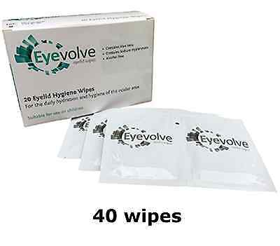40 Eyevolve Eye Lid Wipes for blepharitis or MGD (2x20) replaces Supranettes