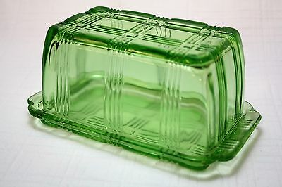 Vintage Original Hazel Atlas Criss Cross Butter Dish One Pound - Green