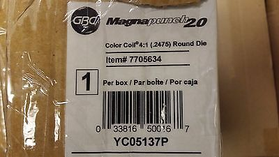 GBC Magnapunch 2.0 4:1 Round Coil Die .2475 - 7705634 NEW, Never Used