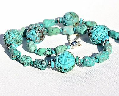 Hand Carved Turquoise Chinese Shou Vintage Bead Sterling Silver Necklace
