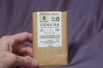Agfa Convira Vintage paper 2¾x4½, glossy single wt.Sealed pack of 24 exp 1939